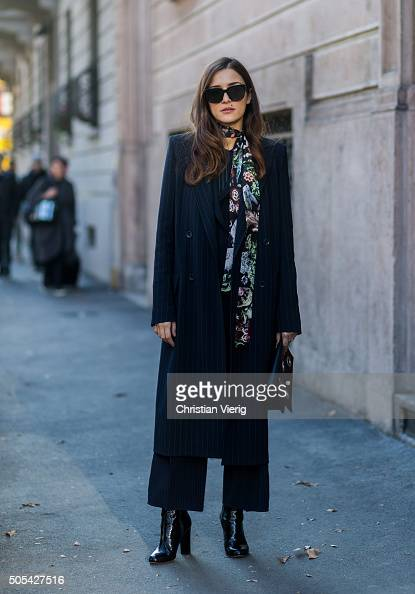 Eleonora Carisi outside Calvin Klein during Milan Men's Fashion Week Fall/Winter 2016/17 on January 17 in Milan Italy