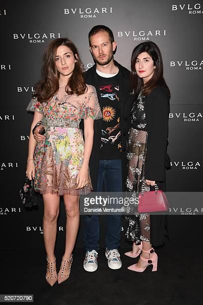 Eleonora Carisi Paolo Stella and Valentina Siracusa attend BVLGARI Celebration of BZero1 At Milan Design Week at Hotel Bulgari on April 12 2016 in...