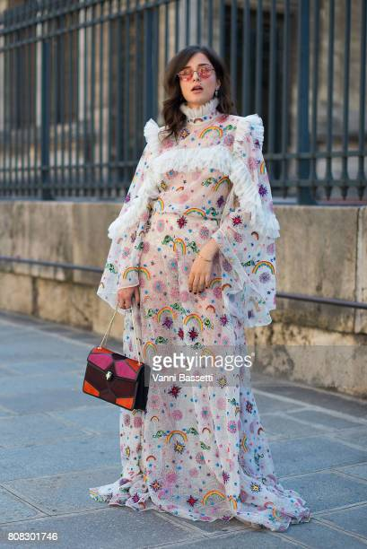 Eleonora Carisi poses after the Ulyana Sergeenko show at the Lycee Henri IV during Paris Fashion Week Haute Couture FW 17/18 on July 4 2017 in Paris...