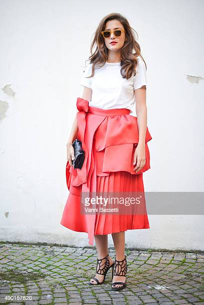 Eleonora Carisi poses before the Antonio Marras show during the Milan Fashion Week Spring/Summer 16 on September 26 2015 in Milan Italy
