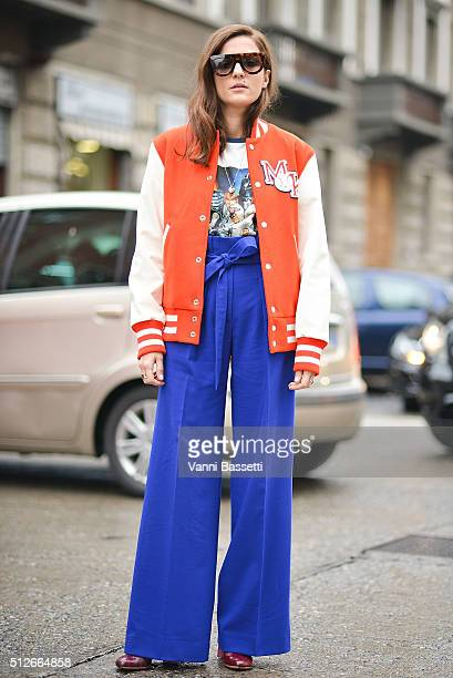 Eleonora Carisi poses wearing a Reebok varsity jacket before the Antonio Marras show during the Milan Fashion Week Fall/Winter 2016/17 on February 27...