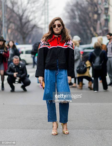 Eleonora Carisi seen outside Emporio Armani during Milan Fashion Week Fall/Winter 2016/17 on February 26 in Milan Italy