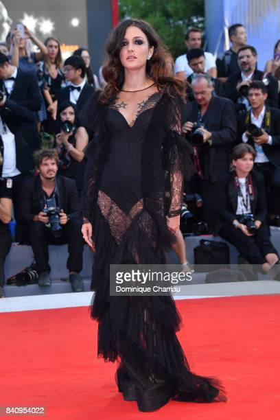 Eleonora Carisi walks the red carpet ahead of the 'Downsizing' screening and Opening Ceremony during the 74th Venice Film Festival at Sala Grande on...