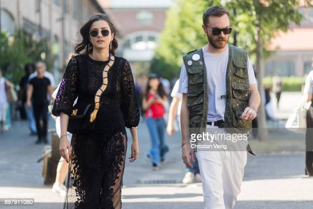 Eleonora Carisi wearing a black sheer dress is seen outside Malibu 1992 during Milan Men's Fashion Week Spring/Summer 2018 on June 19 2017 in Milan...