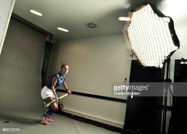 Eleonora di Mauro of Italy poses during a player portrait photo session for FINTRO Hockey World League on June 23 2017 in Brussels Belgium The...