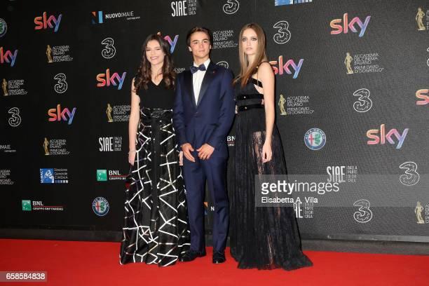 Eleonora Gaggero Leonardo Cecchi and Beatrice Vendramin walk the red carpet of the 61 David Di Donatello on March 27 2017 in Rome Italy
