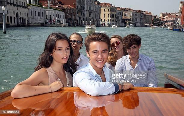 Eleonora Gaggero Saul Nanni Leonardo Checchi Beatrice Vendramin and Federico Russo of the TV series 'Alex Co' are seen in Venice on September 10 2016...