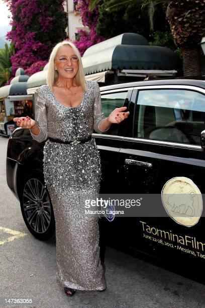 Eleonora Giorgi arrives at the Lancia Cafe during the 58th Taormina Film Fest on June 28 2012 in Taormina Italy