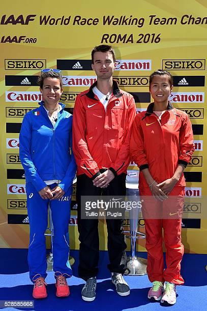 Eleonora Giorgi Benjamin Thorne and Hong Liu attend the IAAF Roma 2016 press conference at Sheraton Parco dei Principi hotel on May 6 2016 in Rome...