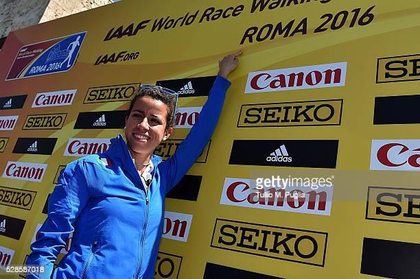 Eleonora Giorgi ITA national 20km race walk recordholder attends the IAAF Roma 2016 press conference at Sheraton Parco dei Principi hotel on May 6...