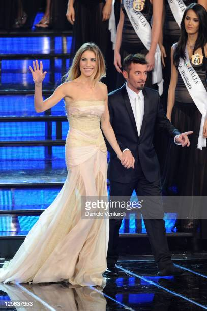 Eleonora Pedron and Max Biaggi attend the 2011 Miss Italia beauty pageant at the Palazzetto of Montecatini on September 19 2011 in Montecatini Terme...