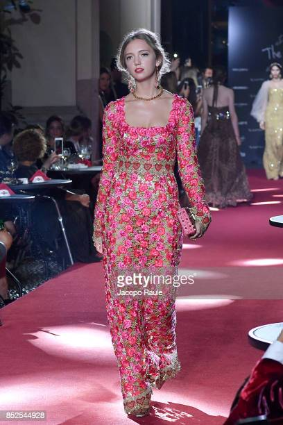 Eleonore Von Habsburg walks the runway at the Dolce Gabbana secret show during Milan Fashion Week Spring/Summer 2018 at Bar Martini on September 23...