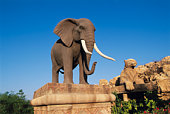 Elephant and Cheetah Statues