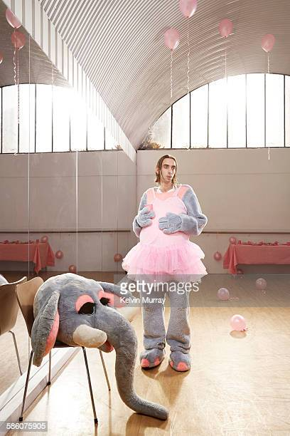 Elephant entertainer after children's party