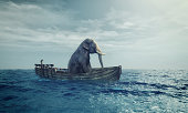 Elephant sitting in a boat by sea. This is a 3d render illustration