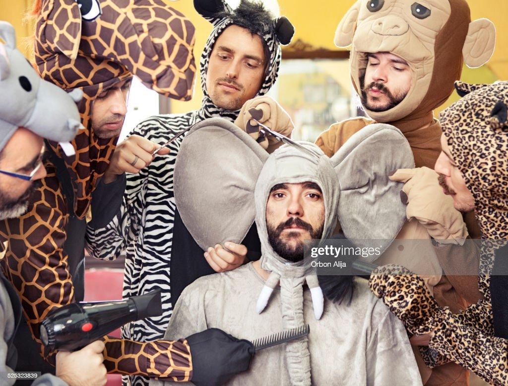 Elephant in hair salon : Stock Photo