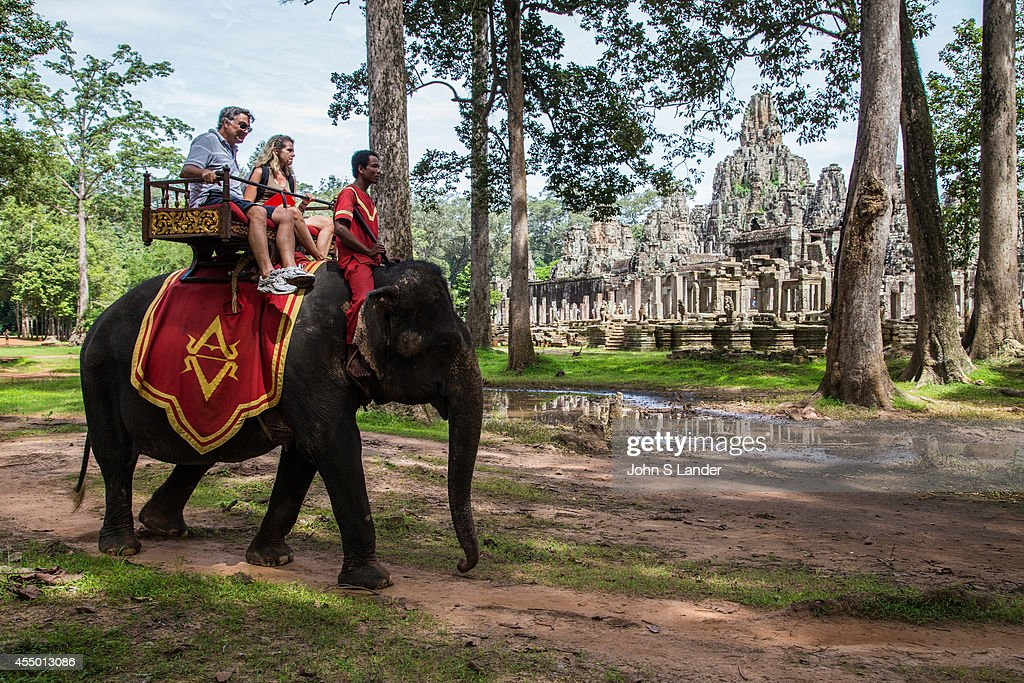 Elephant Rides at Bayon an ornately decorated Khmer temple at Angkor Archeological park in Siem Reap Built in the late 12th century as the official...