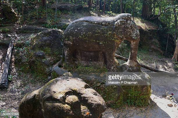 Elephant statue in the jungle - Ruins of Srah Damrie at Phnom Kulen