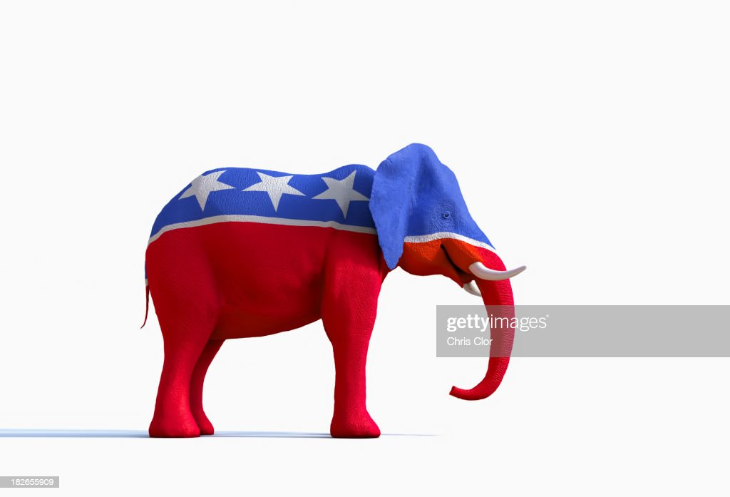 Elephant statue painted red, white and blue : Stock Photo