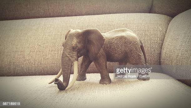Elephant Toy On Sofa At Home