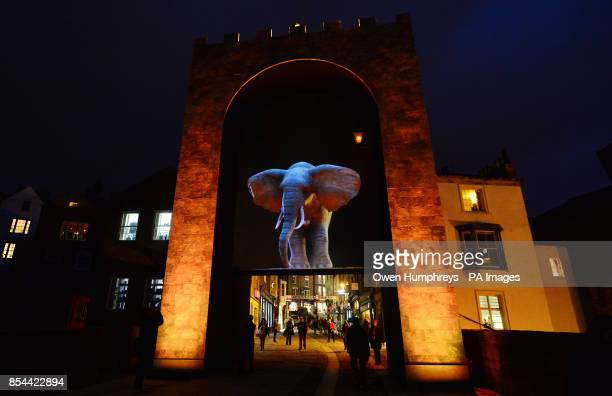 'Elephantastic' a large scale 3D optical illusion that projects onto a distant archway during the Lumiere celebrations in Durham