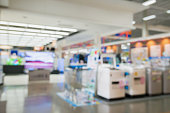 eletronic shop department store with bokeh blurred background