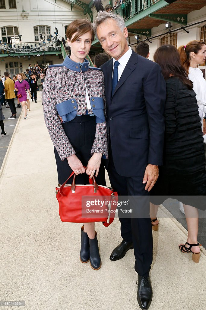 Elettra Rossellini and CEO Chloe, Geoffroy de La Bourdonnais attend Chloe show as part of the Paris Fashion Week Womenswear Spring/Summer 2014, held at Lycee Carnot on September 29, 2013 in Paris, France.