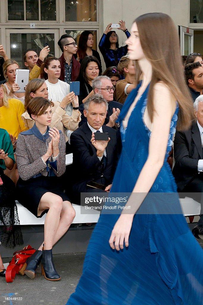 Elettra Rossellini and CEO Chloe, Geoffroy de La Bourdonnais attend Chloe show as part of the Paris Fashion Week Womenswear Spring/Summer 2014, held at Lycee Carnot on September 29, 2013 in Paris, France.