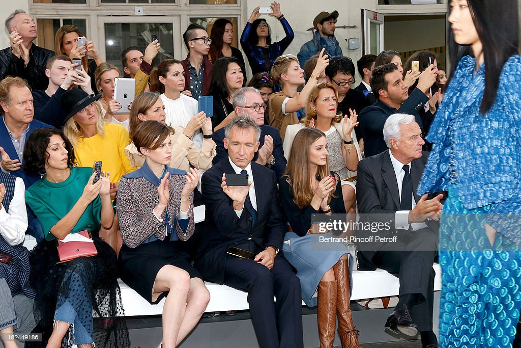 Elettra Rossellini, CEO Chloe, Geoffroy de La Bourdonnais, Olivia Palermo and Co-Chief Executive Officer of Richemont Bernard Fornas attend Chloe show as part of the Paris Fashion Week Womenswear Spring/Summer 2014, held at Lycee Carnot on September 29, 2013 in Paris, France.