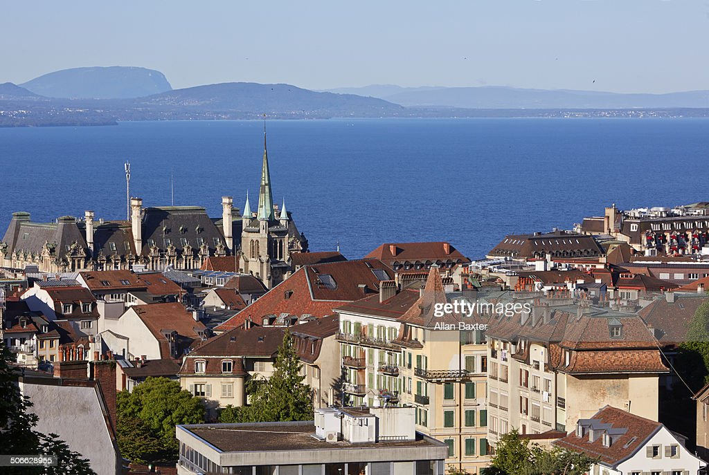 Elevated cityscape of Lausanne at sunrise