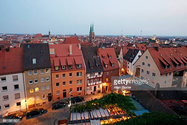 Elevated cityscape of Nuremberg at dusk