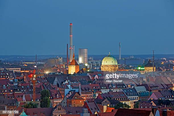 Elevated cityscape of Nuremberg at night