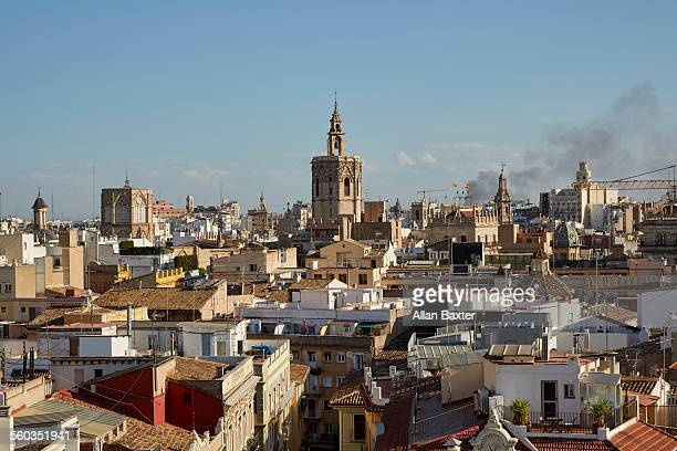 Elevated cityscape of the old city of Valencia