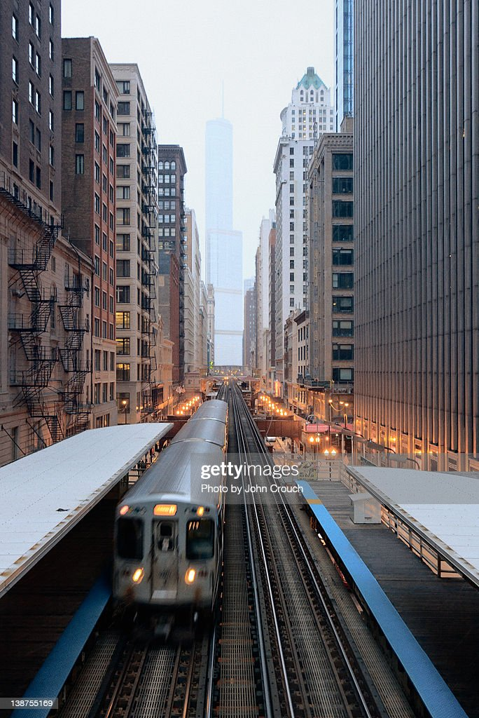 Elevated Commuter Train in Chicago Loop