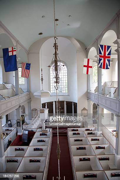 Elevated interior view of historic Old North Church now known as Christ Church built 1723 where lantern was hung for Paul Reveres ride American...
