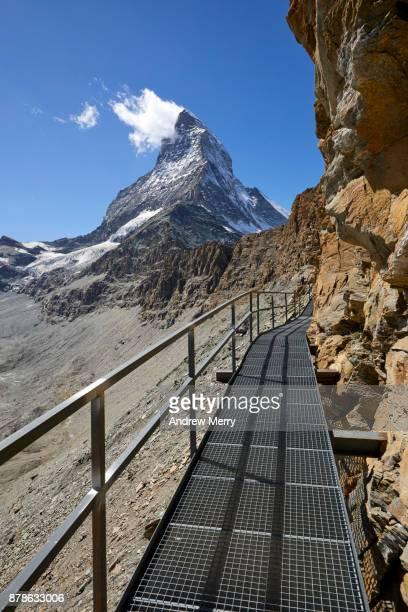 Elevated metal walkway, path or track to the Matterhorn via Hörnli Hut (Hörnlihütte), base camp Matterhorn, a popular route to the ascent of the Matterhorn