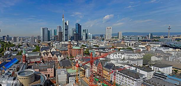Elevated panoramic format image of Frankfurt