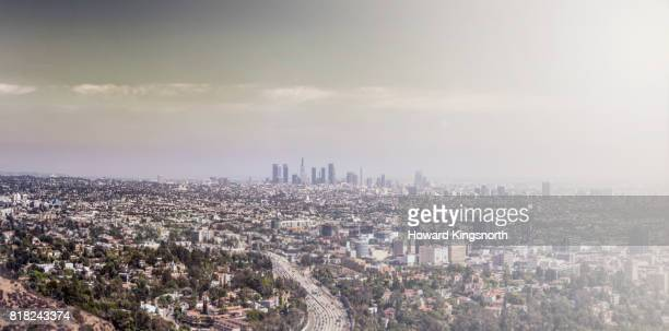 Elevated panoramic of LA with smog