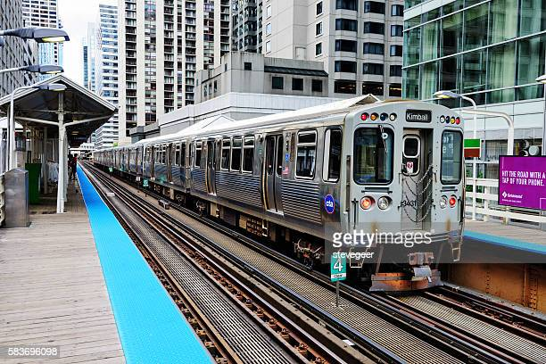 Elevated Railway Train and Station, Chicago Loop