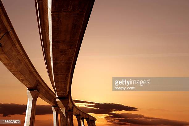 XXL elevated roadway at sunset