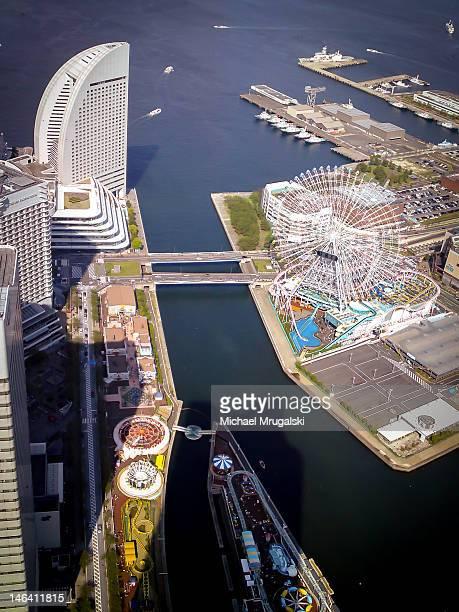 Elevated scenic view of minatomirai japan