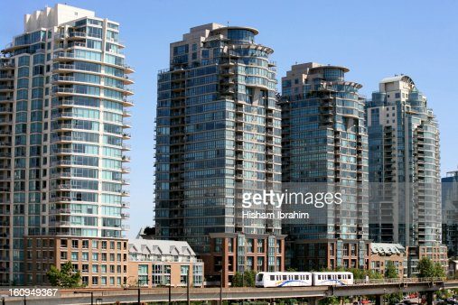 Elevated Sky Train in Downtown Vancouver, Canada