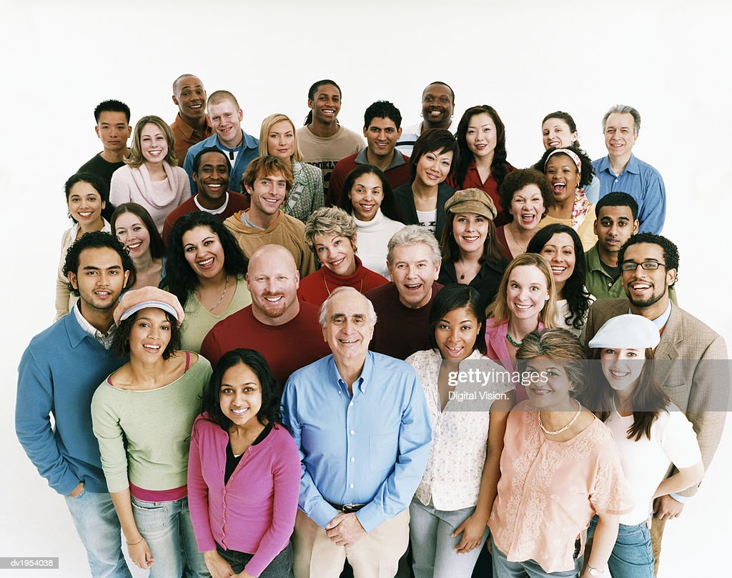 Elevated Studio Shot of a Large Mixed Age, Multiethnic Crowd of Men and Women : Stock Photo