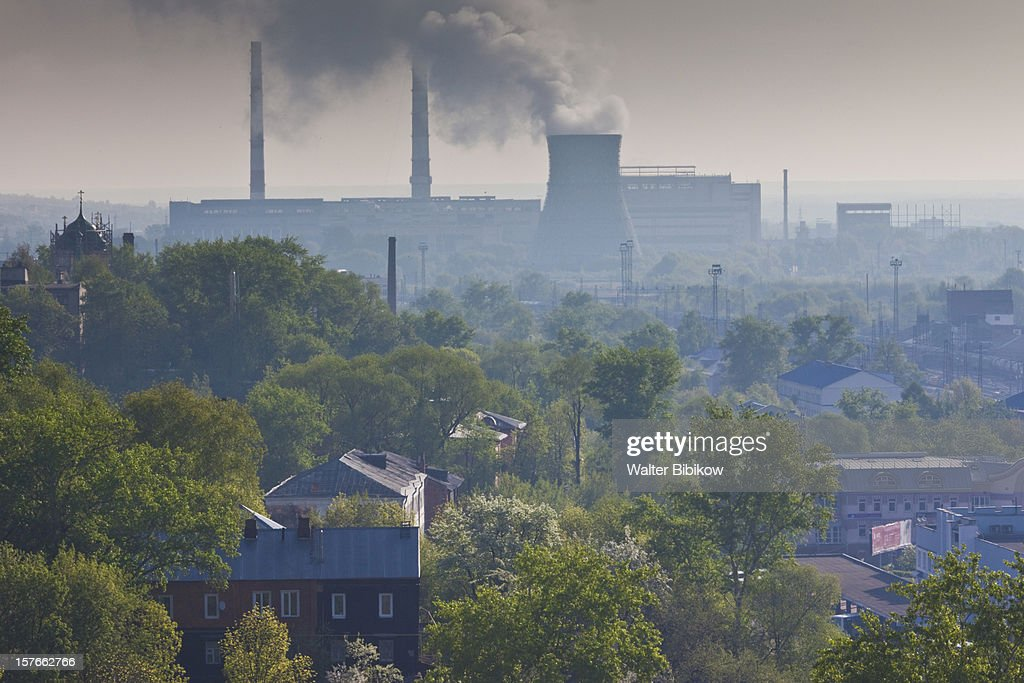 Elevated town view with power plant : Stock Photo