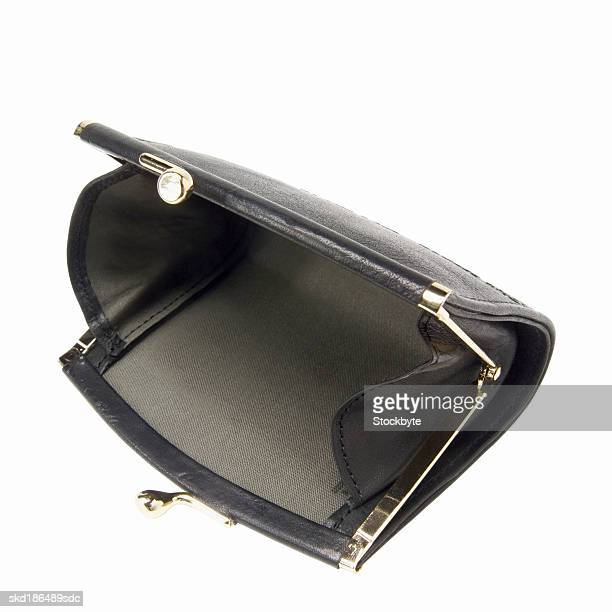 Elevated view an open empty  purse