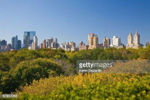 Elevated view, Central Park and skyline, New York