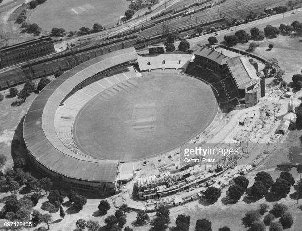 Elevated view looking onto the construction site for the new extensions to the Melbourne cricket ground in preparation as the centrepiece stadium for...