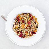 elevated view of a bowl of muesli