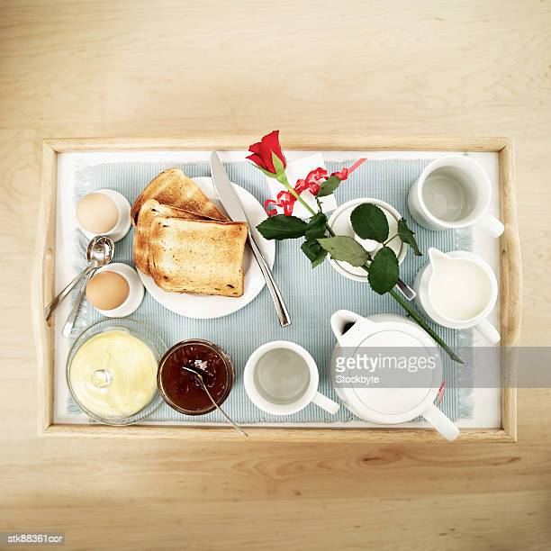 elevated view of a breakfast served on a tray