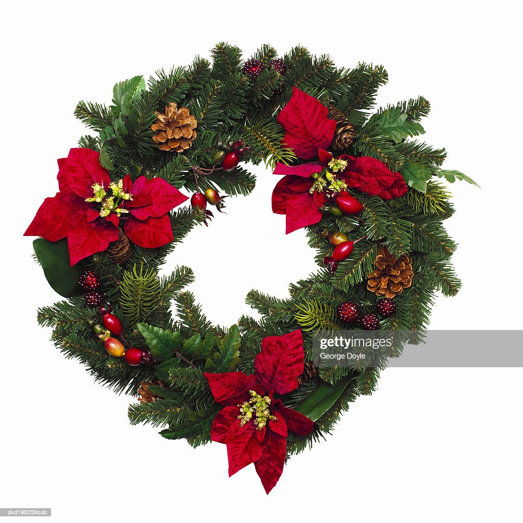 Elevated view of a Christmas wreath